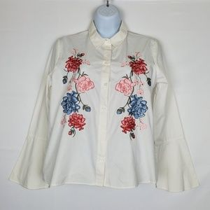 H&M White Embroidered Floral Button Down Shirt 6